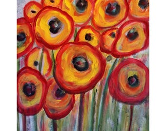 RED YELLOW RED Poppy Flowers Whimsical Painting on Canvas by Luiza Vizoli