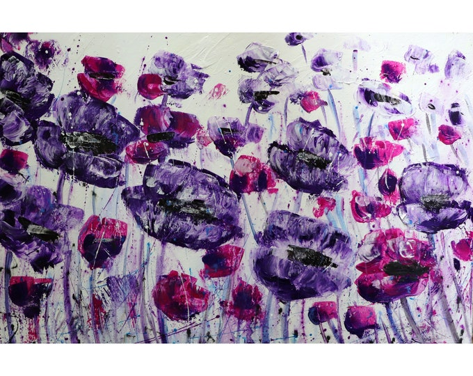 POPPY Flowers PURPLE Lavender WHITE Gray Black Large Canvas Original Painting Art by Luiza Vizoli