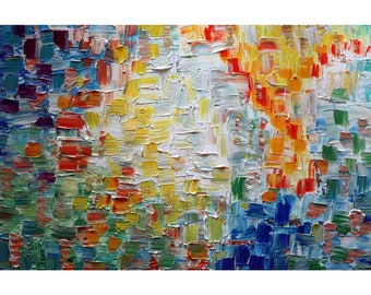 Summer Days Abstract Original Painting Oil on Canvas Modern Office Wall Art