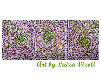 Pink Petals Green White Rose Abstract Flowers Painting Modern Artwork 48x20
