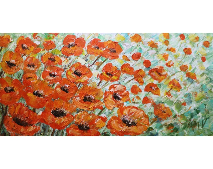 Orange Tulips Spring in Netherlands Impasto Oil FLOWERS Abstract Original Painting on Large Canvas
