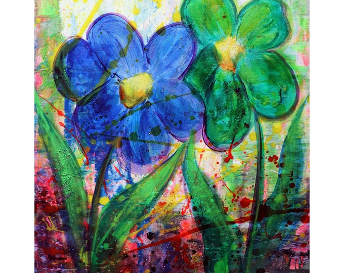 LUCKY CHARMS Blue Green Abstract Modern Pop Art Flowers and Leaves Bright Fun Art by Luiza Vizoli