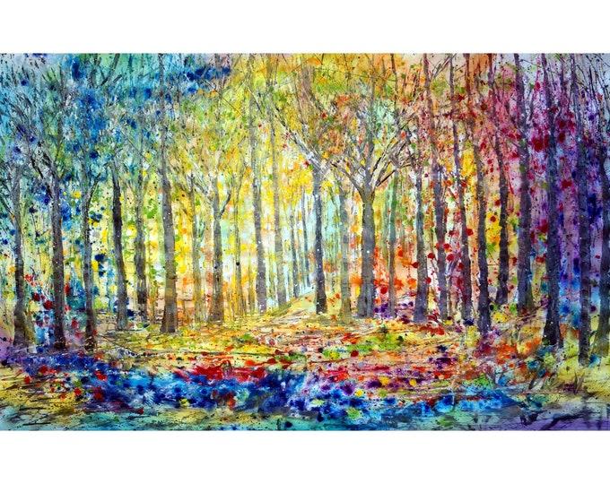 Rainbow Forest Sunshine Happy Trees Painting Large Canvas 60x36 Ready to Ship Art by Luiza Vizoli