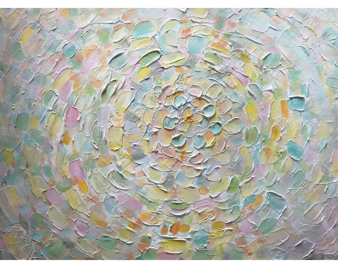 SOFT TOUCH Abstract Petals Flower Original Painting Neutral Pastel Colors Large Canvas