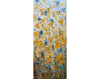 Prairie Flowers Tall vertical wall art ORIGINAL Painting Narrow Canvas wall decor for staircase, bathroom, kitchen, entryway