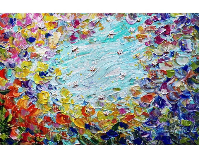 BUSY BEES Summer Flowers in Bloom Original Painting Impasto Textured Colorful Art by Luiza Vizoli
