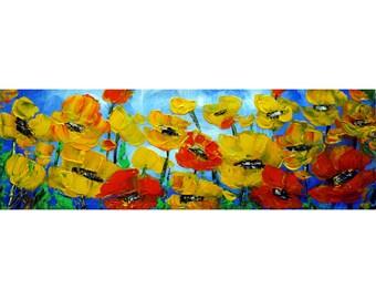 Narrow Canvas Original Oil Painting Poppy Yellow Orange  POPPIES Painting by Luiza Vizoli Custom