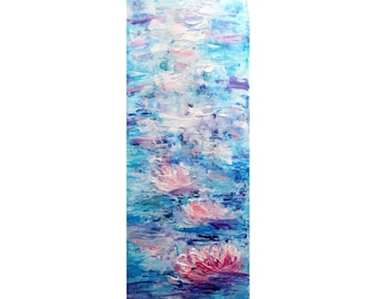 White Blue Lavender Pink Tall vertical wall art ORIGINAL PAINTING Water Lilies, Long Narrow wall decor for staircase, bathroom, entryway