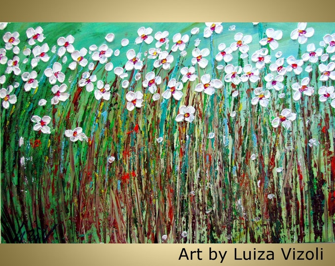 DAISY SUMMER Field Large Canvas Flowers Impasto Oil Original Painting Abstract Flowers by Luiza Vizoli