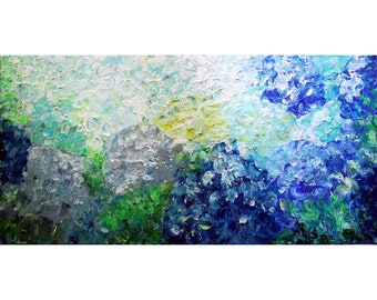 Hydrangea Flowers Oil Painting White Gray Blue Turquoise Original Art by Luiza Vizoli