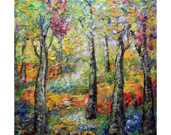 Colorful Blooming Flowers Summer Birch Trees Park Original Oil Painting Impasto A Glorious Summer Day