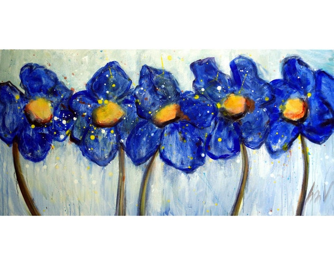Original Painting BLUE POPPIES After Rain Large Canvas Ready to Hang 48x24 Art by Luiza Vizoli