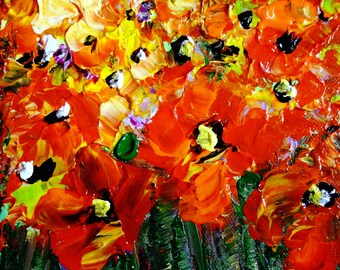 Oil Painting Red Flowers Abstract Poppies Art  ready to hang by Luiza Vizoli SMALL Canvas 4x4,6x6,8x8