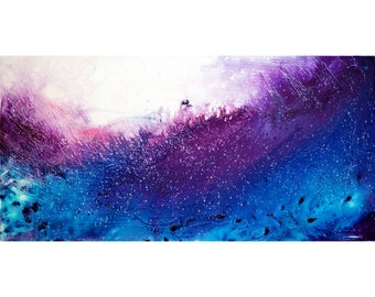 Purple Blue White Abstract Painting The WAVES Large ORIGINAL Direct from Artist Studio Ready to Ship