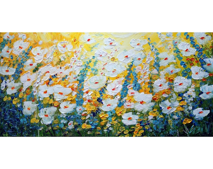 WHITE BLOSSOM SOLD Original Oil Painting Forget me Not Daisy Blue Green Yellow Floral Impasto