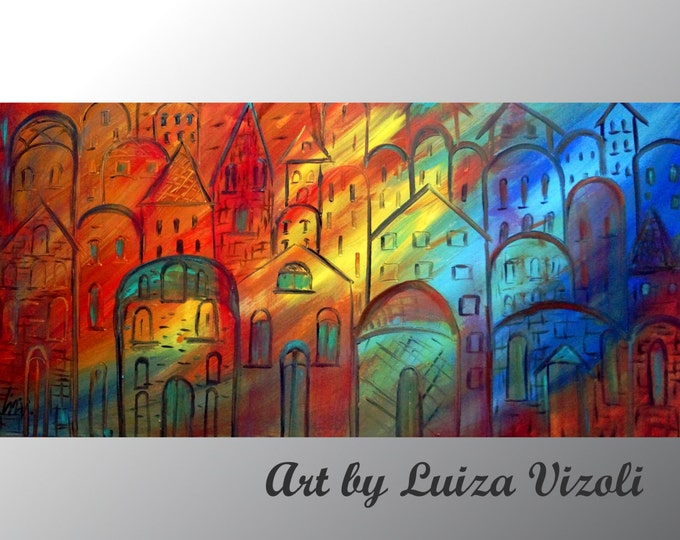 OLD CITY at SUNSET Original Modern Large Canvas Abstract Contemporary Cityscape Oil Painting by Luiza Vizoli