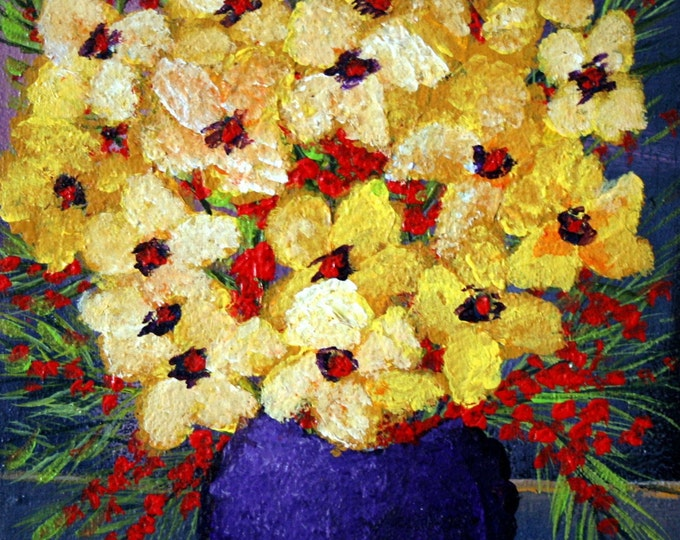 TOUCH of YELLOW  Original Flowers Painting Heavy Textured Impasto Oil Art
