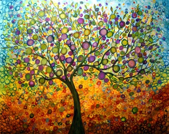 Large Mural Upscale Painting 84x60 OLIVE TREE Whimsical Landscape Tree of Life Art by Luiza Vizoli