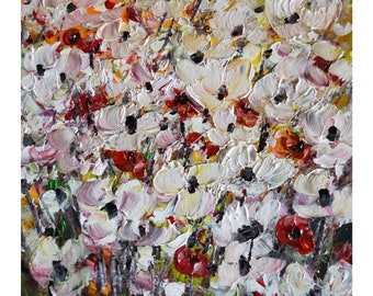 Country Flowers Field White Red yellow Green Beautiful Impasto Oil Painting Art by Luiza Vizoli
