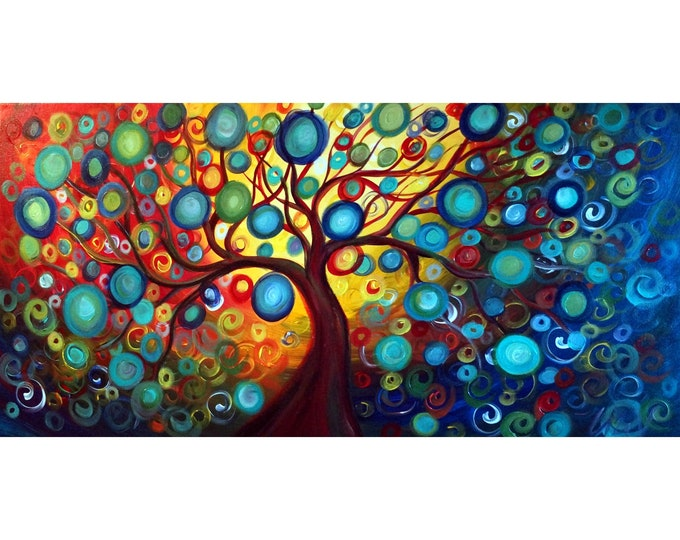Inner Beauty TREE of LIFE Original Whimsical Painting Landscape Colorful Art by Luiza Vizoli  canvas