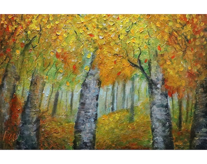 NORTHWOODS FALL Colors MN North Shore Oil Original Painting Trees Landscape Canvas Art by Luiza Vizoli