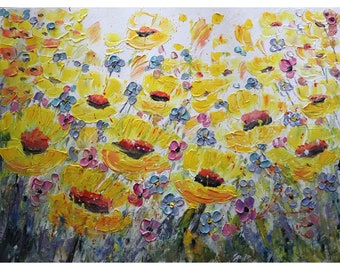 Sunny Flowers Field in BLOOM Yellow Purple Pink Lavender Gray Large Original Painting