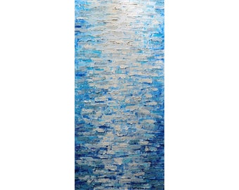 Misty Water Abstract Impasto Painting Original Large Canvas White Cream Beige Blue Aqua Gray Neutral Tones ,Neutrals Colors Vertical Artwork