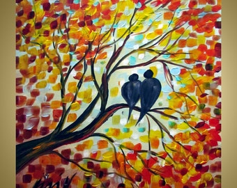FALL ROMANCE Original Oil Painting Modern Wall Art Birds Autumn Trees in shades of red,orange,yellow,blue