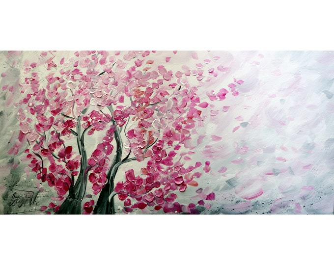 SAKURA Blossom Original Painting Pink White Gray Abstract Trees  Large Canvas