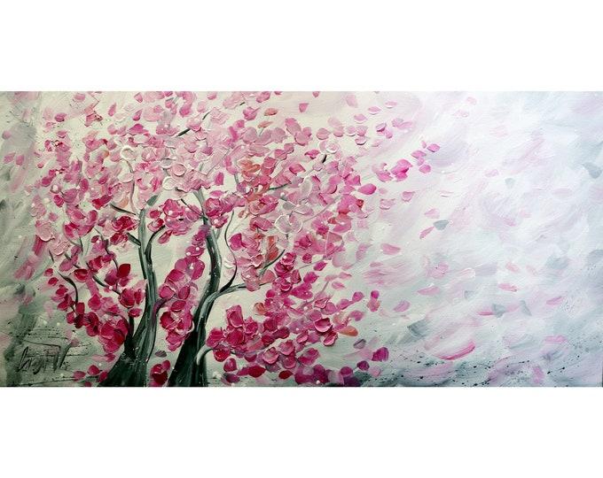 SAKURA Blossom Original Painting Pink White Gray Abstract Trees  Large Canvas