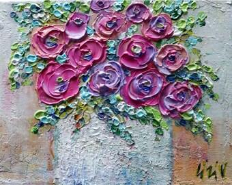 Original Ranunculus Flowers Pink Lavender Purple Fuchsia Colors Impasto Oil Canvas Art by Luiza Vizoli