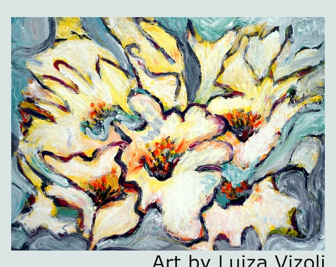WHITE Cream Yellow Abstract Flowers Modern Large Original artwork Grey Floral Wall Decor