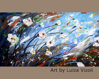 Blue Brown White Flowers Original Oil Painting Modern Impressionist Large Painting by Luiza Vizoli