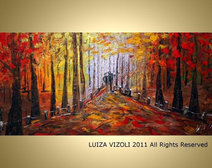 ROMANCE 60x36 Original HUGE Trees Landscape Forest Impasto Oil Large Painting by Luiza Vizoli