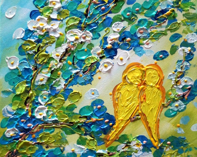 Spring Birds Flowers Painting LOVE is in the AIR Impasto Oil Original Art ready to ship