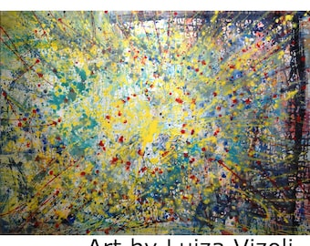 LIGHTS ABOVE 48x36 Abstract Large Painting Yellow Blue Aqua Modern Canvas Ready to Hang Art by Luiza Vizoli