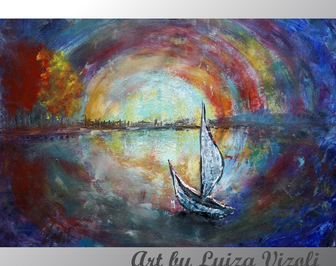 BOAT Art Painting Original Abstract Large Painting SAILBOAT in the MOONLIGHT Oil on Canvas by Luiza Vizoli