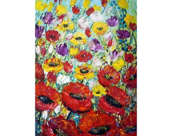 Spring WIND Flowers Field 60x36 Modern Style luxury looks original handmade oil painting art for office