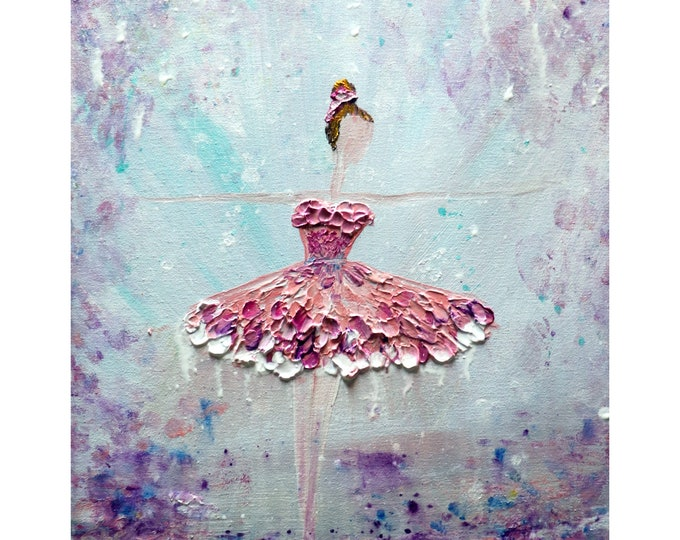Ballerina Pink White Dress Ballet Abstract Figurative Painting Art by Luiza Vizoli