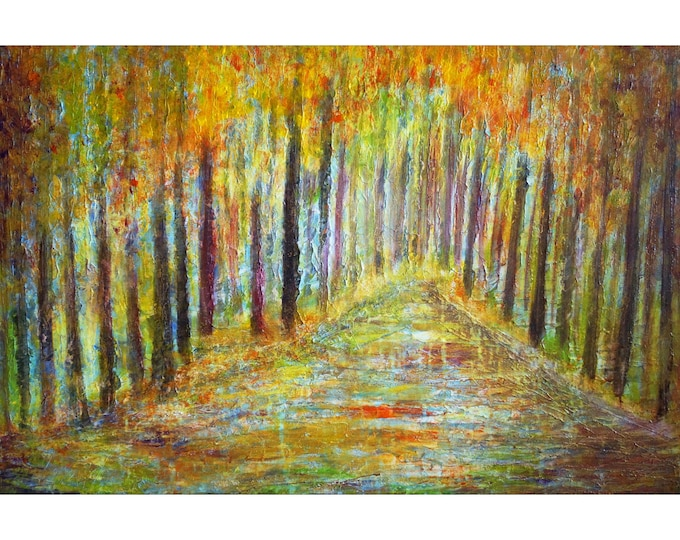 Fall Forest Rain Large Painting Impasto Oil on Canvas Ready to Ship Art by Luiza Vizoli