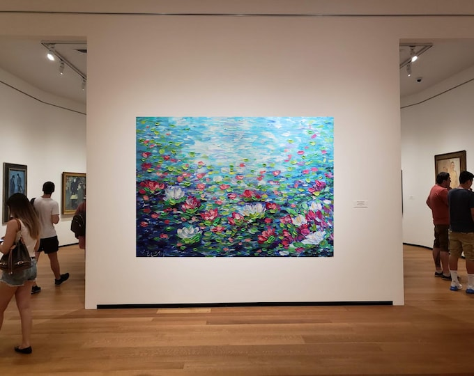 Lily Pond  breathtaking Water Flowers  48x36 Monet Inspired Abstract Painting Office Art Oil Large Canvas
