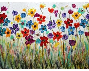 Bright SPRING Flowers on White Impasto OIL Original Large Painting Art by Luiza Vizoli