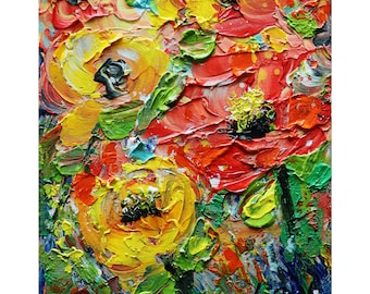 ROSES Wild Red Orange Yellow Rose Flowers Original Oil Painting on Canvas