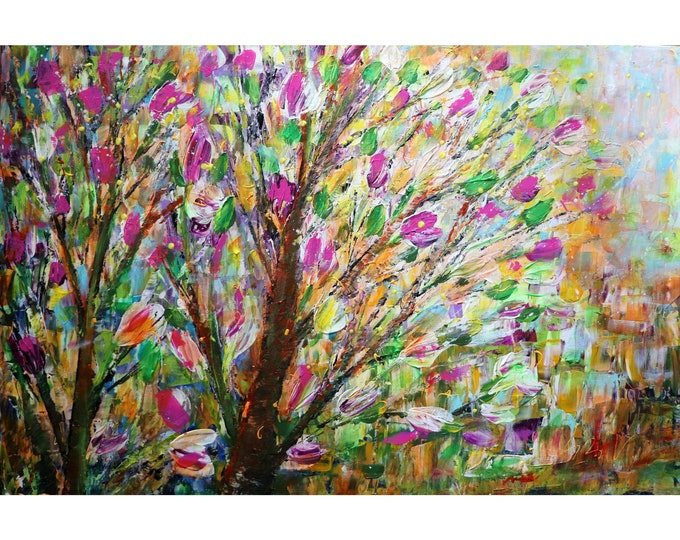 Graceful Fragrant Flowers Magnolias Trees Spring Blossom Original Abstract Landscape Painting
