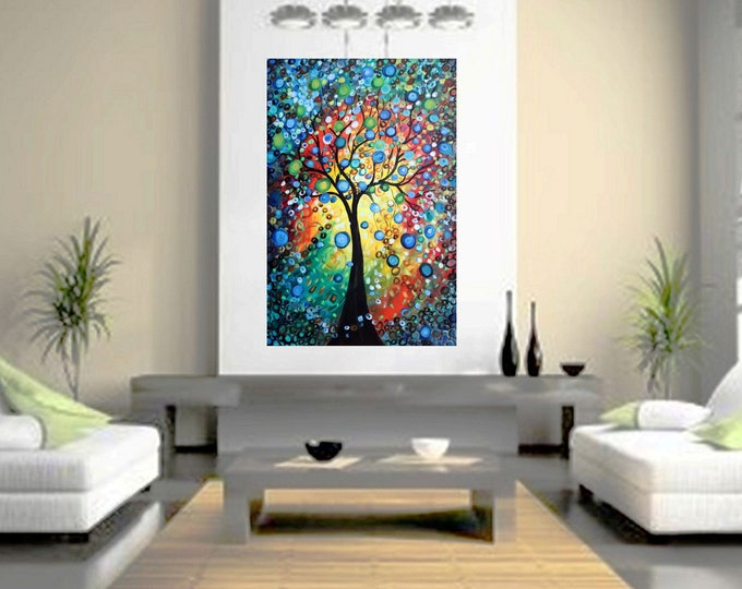 Journey Through Seasons 60x40 Large Painting Circle of Life XXL Canvas Tree of Life Ready to Ship