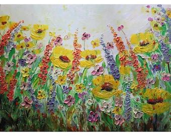 Lavender Lupine Wild Flowers Field in BLOOM Yellow Purple Pink Orange Green Gray Large Original Painting
