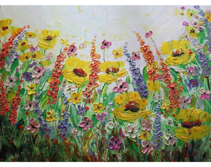 Lavender Lupine Wild Flowers Field in BLOOM Yellow Purple Pink Orange Green Gray Large Original Painting