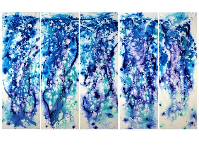 Water Painting Spa Day Abstract Aruba Ocean 60x36 Blue White Lavender Turquoise Fluid Ocean Huge Painting Art by Luiza Vizoli Beach Artwork