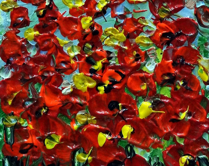 Original Oil Painting RED Wildflowers Modern Impasto Palette Knife Flowers Art SMALL CANVAS