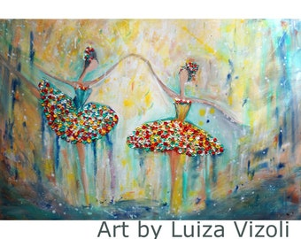 BALLERINAS Modern Painting on Canvas 36x24 Textured Colorful Girls Ballet Dance Painting Art by Luiza Vizoli